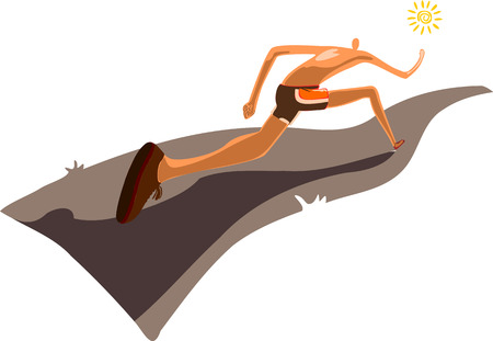 A stylized silhouette of a runner runs down the road while the sun shines brightly. Illustration