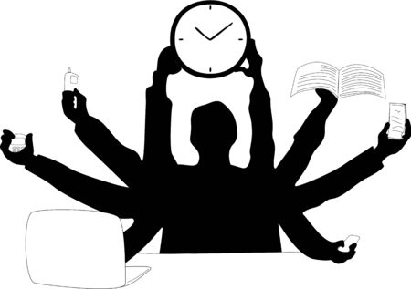 Silhouette of a business man who tries to make use of different devices at the same team while holding up the clock. Illustration