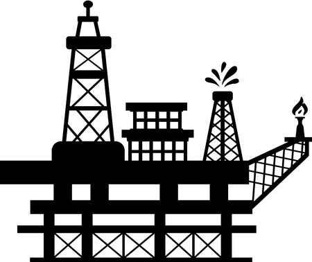 Silhouette of an oil rig which one of the towers spills oil while the other burns gas. Illustration