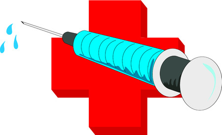fluency: Syringe with fluid is placed in front of a red cross as an example of a strong aid against diseases.