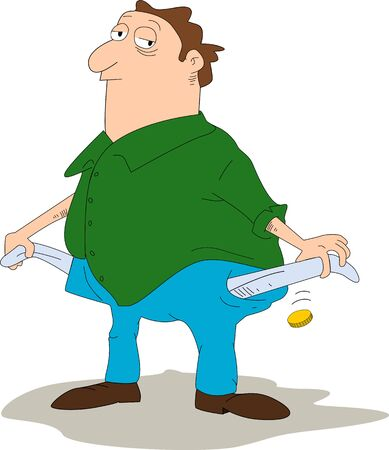 maniac: Cartoon alike person empties his pockets and drops a coin suggesting he has almost no money left. Illustration