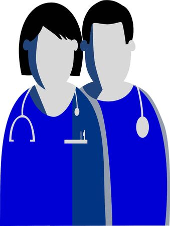 Graphic silhouettes of a female and a male doctors nurses Represented are the symbols in shades of blue and gray colors. Illustration