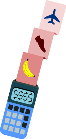 A regular calculator which display conveys the money sign releases a bill of updated costly products and services.