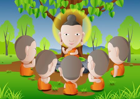 žák: pět asketiků se stalo následovníky Buddha.good pro použití ve významném dni buddhismu, vektorové ilustrace