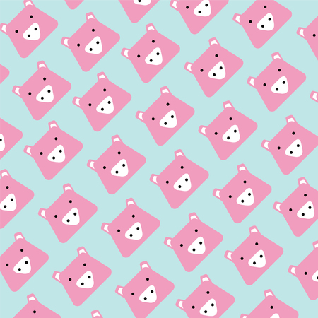 pattern of pink head pig cartoon and plain blue background,vector illustration