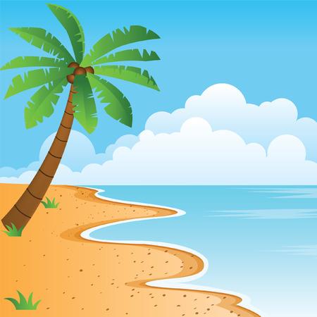 Duidelijke blauwe overzees, aardig oranje strand, alleen palmboom met bewolkte hemel vectorillustratie Stockfoto - 82510809