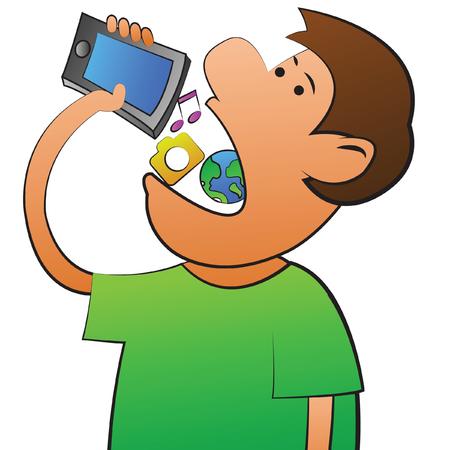 teniendo objeto technolgy, enfermedad adiccional de la red social, ilustración vectorial