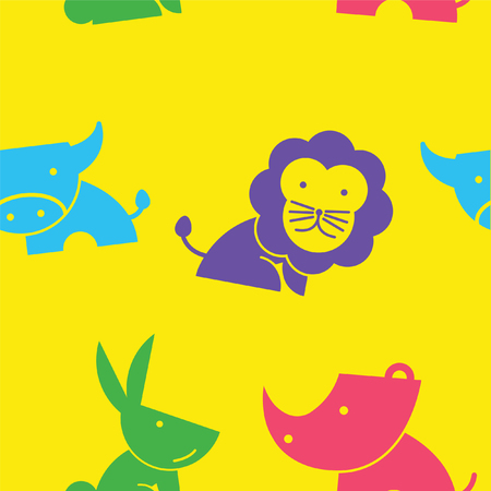 lovely seamless pattern wildlife cartoon in yellow background.suitable for animal lover to create pattern in gift wrap and website,vector illustration