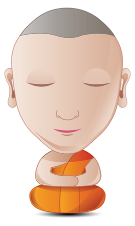 Bubble head gradient cartoon monk is mediating calmly with white background,used well for important days of Buddhism vector illustration