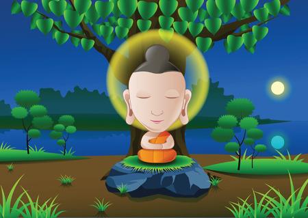 anochecer: el señor de Buda se iluminó bajo el árbol en la noche de luna llena cerca de río en la India en versión de dibujos animados, ilustración vectorial Vectores
