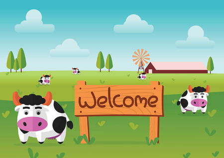 color flat farm of cows stand in green field with welcome wooden board.suitable for animal,agriculture,farm and livestock design jobs,vector illustration