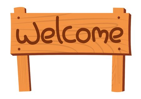 wooden post: cartoon welcome brown wooden board,isolated,vector illustration