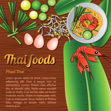 Thai delicious and famous food fried noodle stick with shrimp Pad Thai with wooden background and ingredient,vector illustration