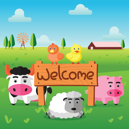 color flat farm of cows pig hen duck and sheep stand in green field with welcome wooden board.Isolated version.suitable for animal,agriculture,farm and livestock design jobs,vector illustration