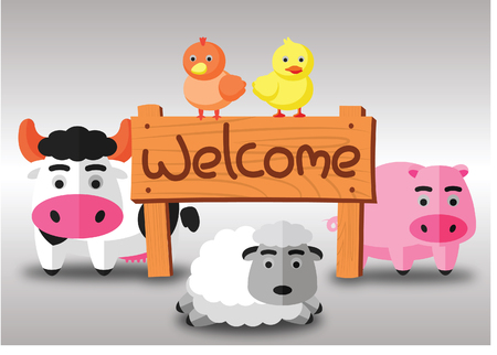 color flat farm of cows pig hen duck and sheep stand in green field with welcome wooden board.suitable for animal,agriculture,farm and livestock design jobs,vector illustration