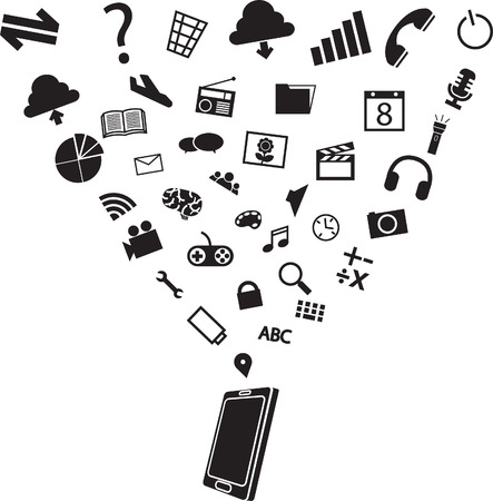 variety many use of smart phone tablet apps and function in silhouette flat black and white icon,vector illustration Illustration