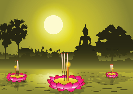 Loy Krathong festival in Thailand,silhouette background,vector illustration Illustration