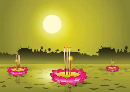 Loy Krathong, Thaise beroemd festival, vectorillustratie, volle maan met tempel en boomachtergrond