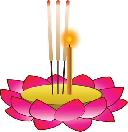 Krathong object for Loy Krathong,isolated.Thai famous festival,vector illustration,in full moon night