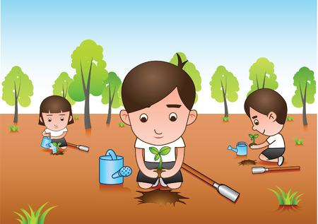 three white shirt volunteer planting tree for afforest.Vector illustration