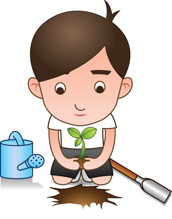 white shirt volunteer planting tree for afforest.isolated,Vector illustration Ilustrace