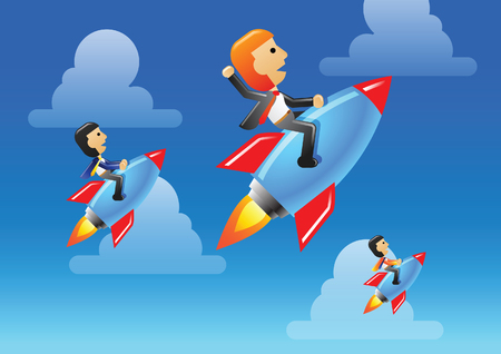 Business man and team ride rocket to lead his business and organization to be success,winner,vector illustration