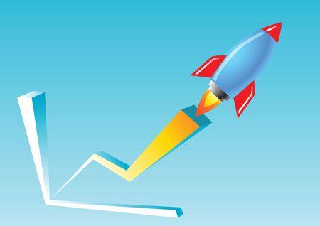 青と赤のロケット飛ぶグラフはビジネスを意味し、関係成長非常に高速、ベクトル イラスト  イラスト・ベクター素材