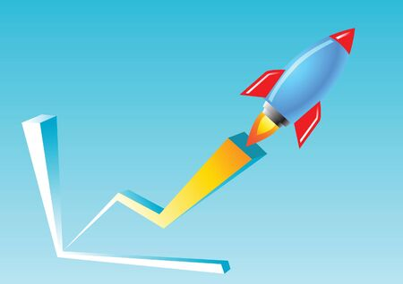 blue and red rocket fly over the chart graph means business and relations grow very much and fast,vector illustration
