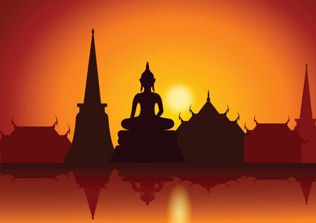 sunset with Thai Buddha temple and riverside.Asian lifestyle,vector illustration Ilustrace