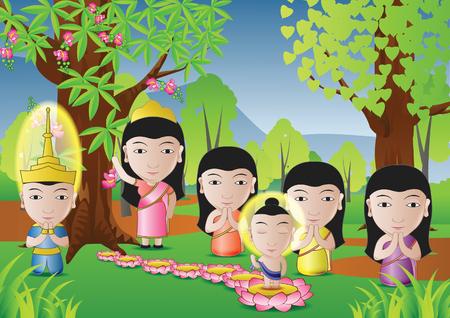 仏の主が仏教のベクトル図の重要な日のためによく使用される漫画バージョンのツリーの下で生まれた  イラスト・ベクター素材