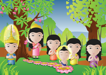 buddha lotus: lord of Buddha was born under tree in cartoon version,used well for important days of Buddhism vector illustration Illustration