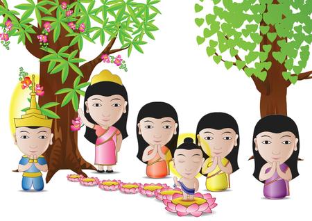 仏の主が仏教ベクトル図では、白い背景の重要な日のためによく使用される漫画バージョンのツリーの下で生まれた