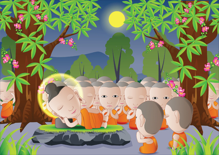 nirvana: lord of Buddha was dead under tree in cartoon version,used well for important days of Buddhism vector illustration