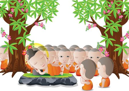 仏の主だった仏教のベクトル図の重要な日のためによく使用される漫画版でツリーの下に死んでいます。  イラスト・ベクター素材