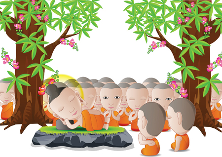 buddha lotus: lord of Buddha was dead under tree in cartoon version,used well for important days of Buddhism vector illustration