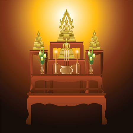 Ensemble de table d'autel type cinq tables dans la conception de dégradé, adapté à l'ensemble de la cérémonie du bouddhisme, illustration vectorielle Banque d'images - 87110991