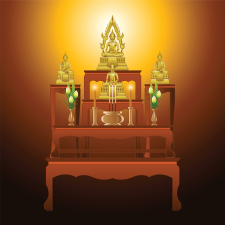 buddha lotus: set of altar table type five tables in gradient design,suitable for all of Buddhism ceremony,vector illustration Illustration