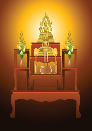set of altar table type seven tables in gradient design,suitable for all of Buddhism ceremony,vector illustration