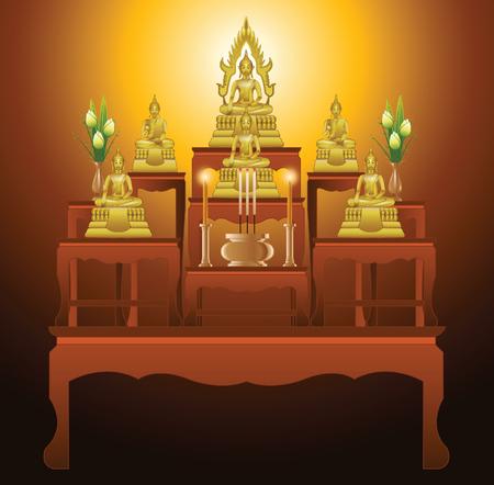 모든 불교 행사, 벡터 일러스트 레이 션에 적합 한 그라데이션 디자인에 제단 테이블 형식 9 테이블 집합