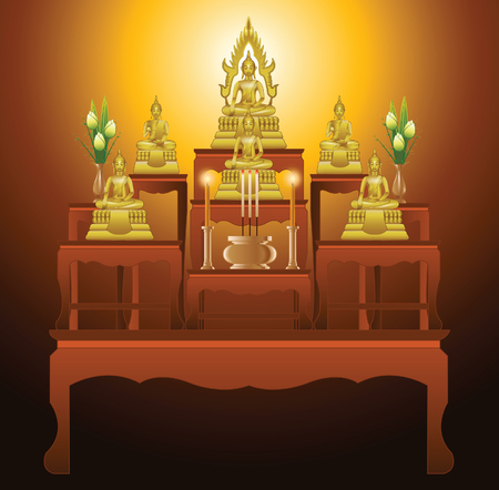 buddha lotus: set of altar table type nine tables in gradient design,suitable for all of Buddhism ceremony,vector illustration Illustration