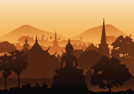 tree temple image of Buddha sculpture pagoda sea,Myanmar,Thailand,vector illustration