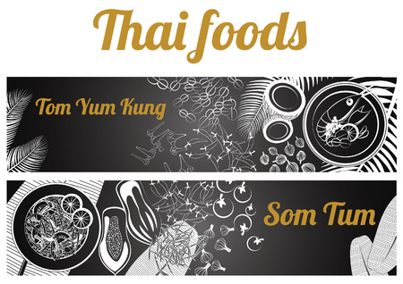 Dwie szare skala czarno-biały tajski pyszne i słynny baner żywności.
