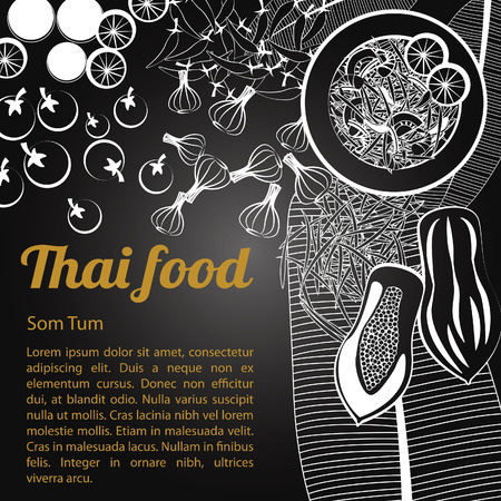 Tajski pyszne i słynne jedzenie Kurczak Curry Massaman z odizolowanych czarnym tle składnik, czarno-biały szary styl, ilustracji wektorowych