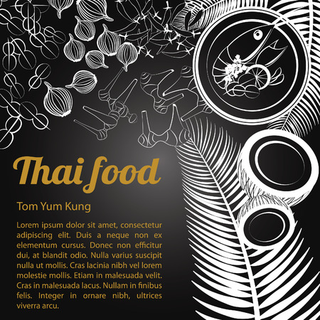 Thai delicious and famous food Chicken Curry Massaman with isolated black background ingredient, black and white gray scale style, vector illustration Illustration