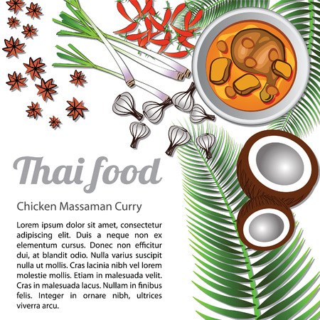 Thai delicious and famous food Chicken Curry or massaman with isolated white background ingredient, vector illustration Illustration