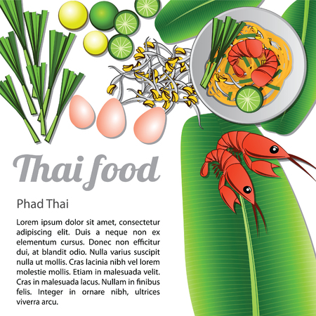 fried shrimp: Thai delicious and famous food fried noodle stick with shrimp or pad thai with isolated white background and ingredient, vector illustration Illustration