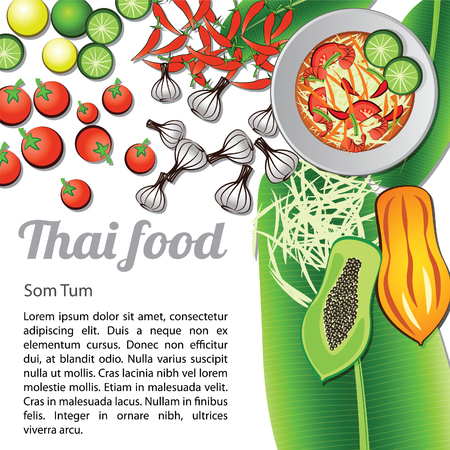 Thai delicious and famous food papaya salad som tum and ingredient with isolated white background, vector illustration