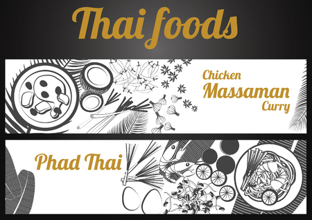 Two black and white gray scale Thai delicious and famous food banner, fried noodle stick with shrimp, Chicken Curry and ingredient with white background, vector illustration