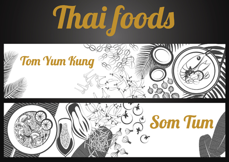 Two black and white gray scale Thai delicious and famous food banner.