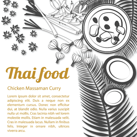 Thai delicious and famous food Chicken Curry Massaman with isolated white background ingredient, black and white gray scale style, vector illustration Illustration